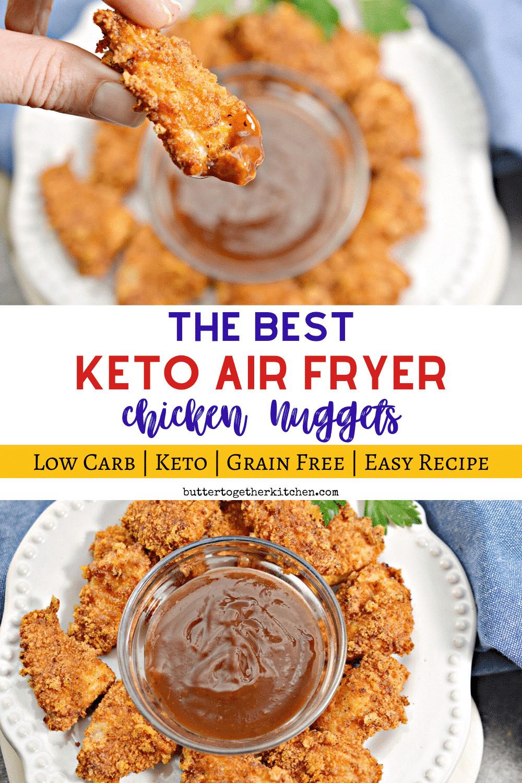 Air Fryer Keto Chicken Nuggets  These Air Fryer Keto Chicken Nug s are SO juicy crispy
