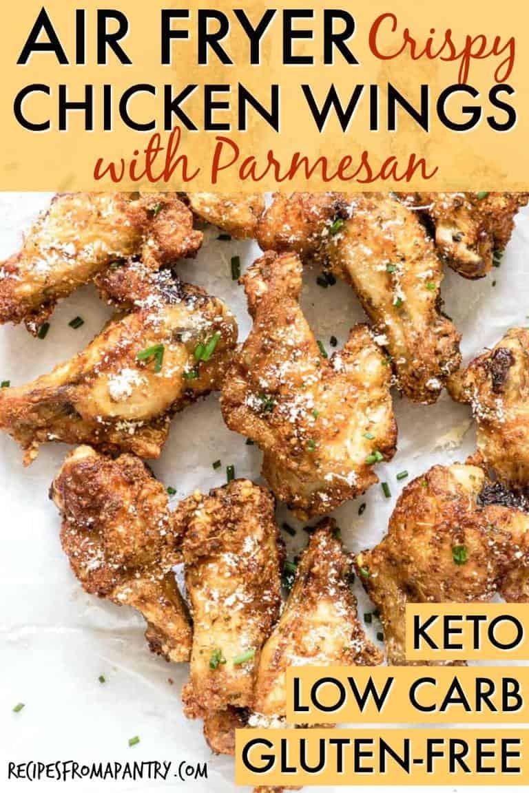 Air Fryer Keto Chicken Wings  Easy Crispy Air Fryer Chicken Wings with Parmesan GF Low