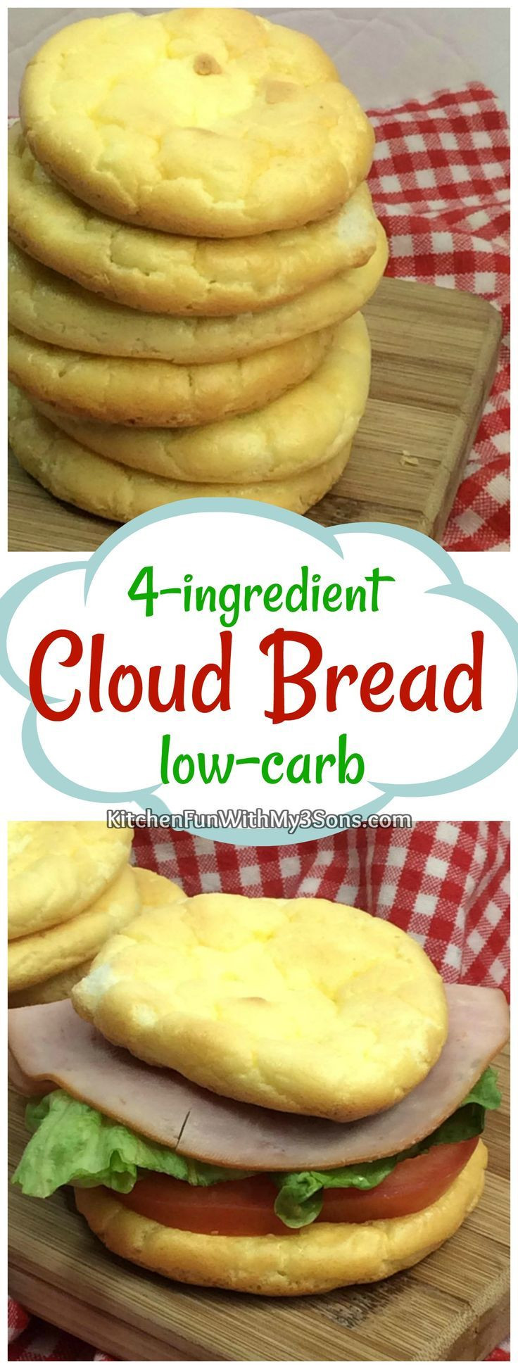 Atkins Cloud Bread  4 ingre nt Low Carb Cloud Bread With images