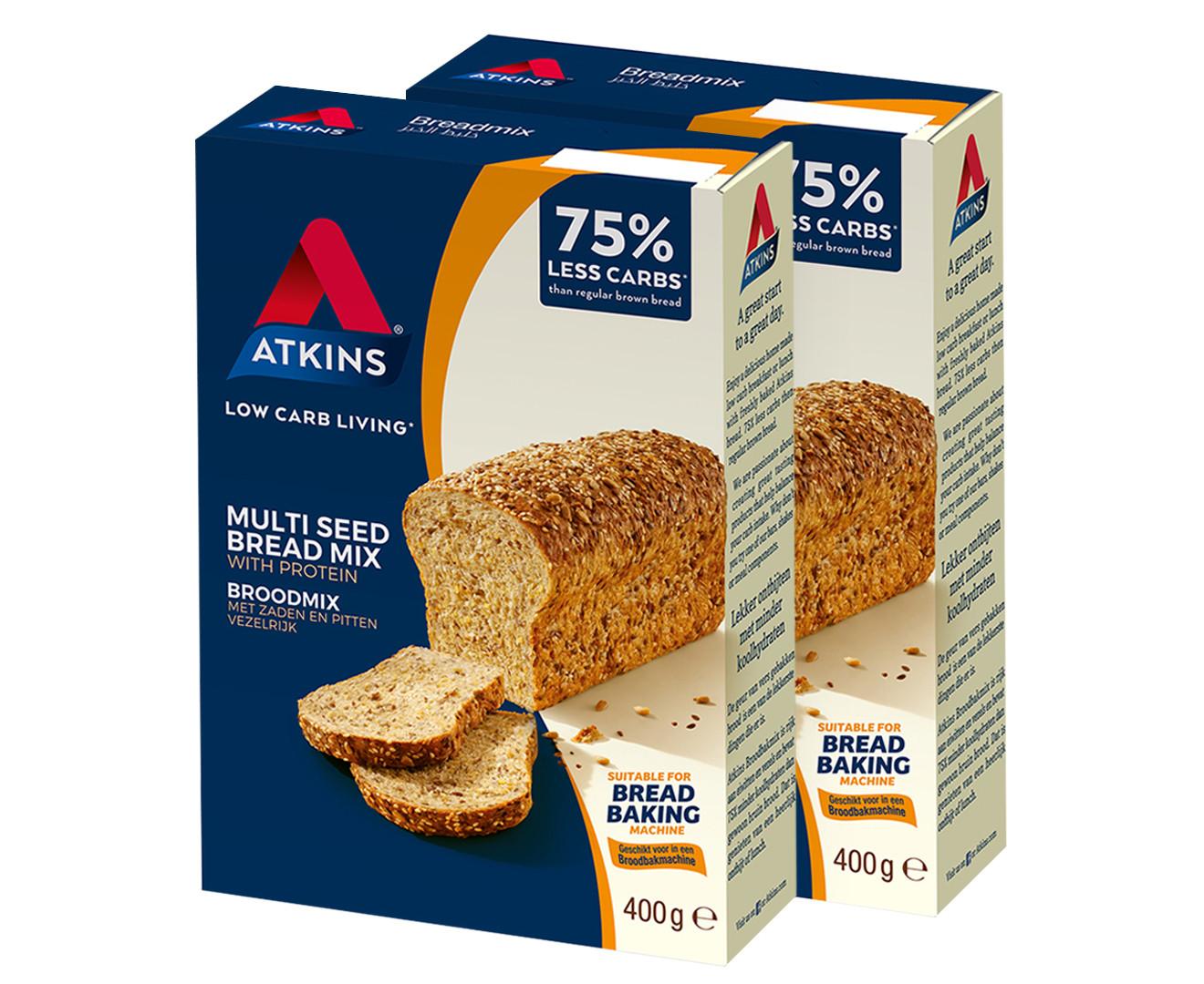 Atkins Low Carb Bread  2 x Atkins Low Carb Multi Seed Bread Mix 400g