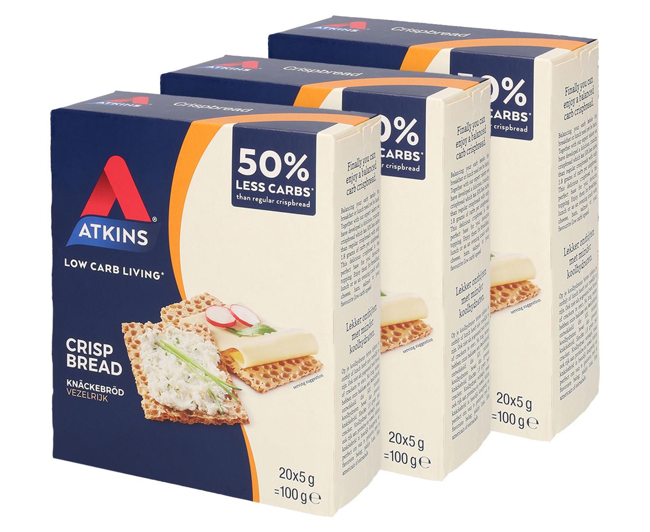 Atkins Low Carb Bread  3 x Atkins Low Carb Crispbread 100g