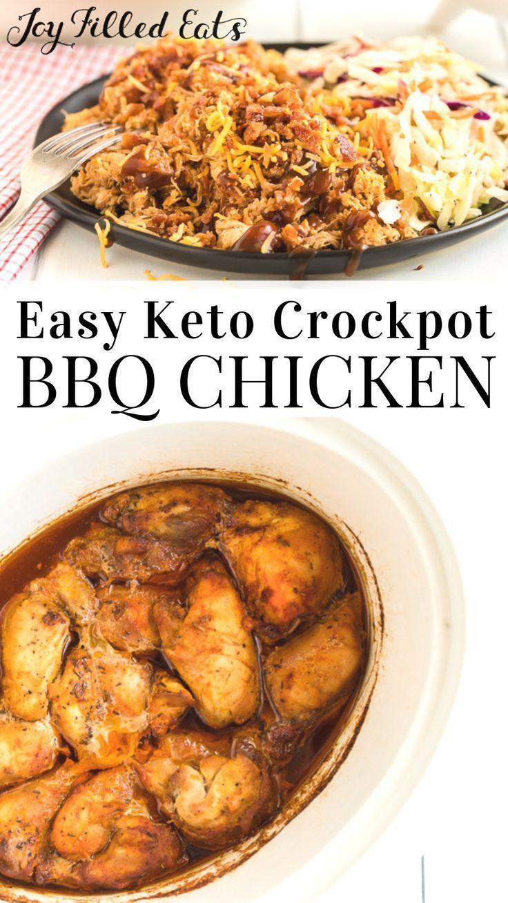 Bbq Chicken Crockpot Keto  Easy Keto Crockpot BBQ Chicken in 2020