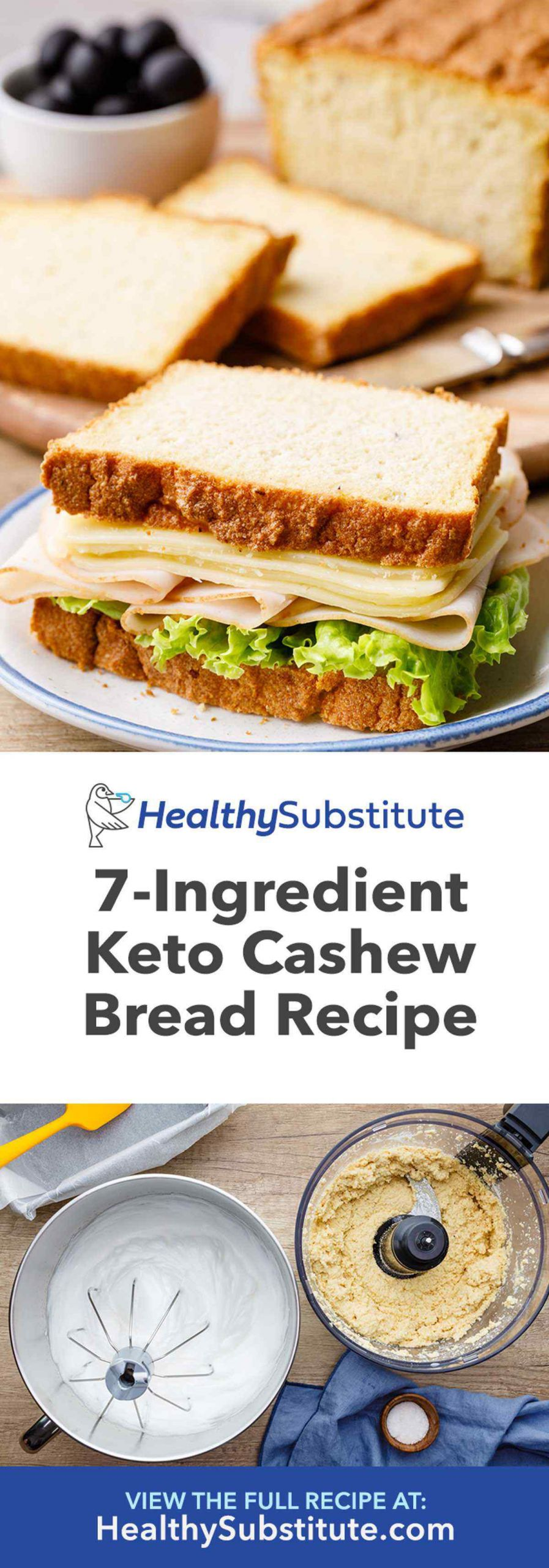 Bread Substitute For Low Carb Diet  7 Ingre nt Keto Cashew Bread High Protein Low Carb