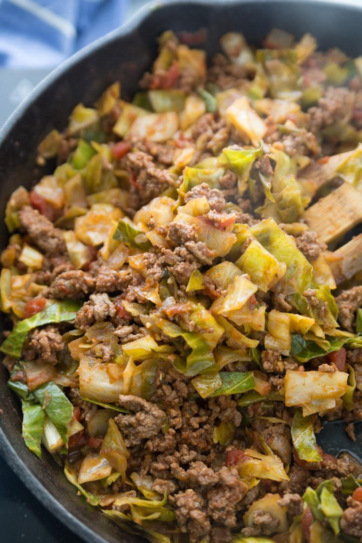 Cabbage Ground Beef Keto  Keto Unstuffed Cabbage Rolls Skillet Quick & Delicious