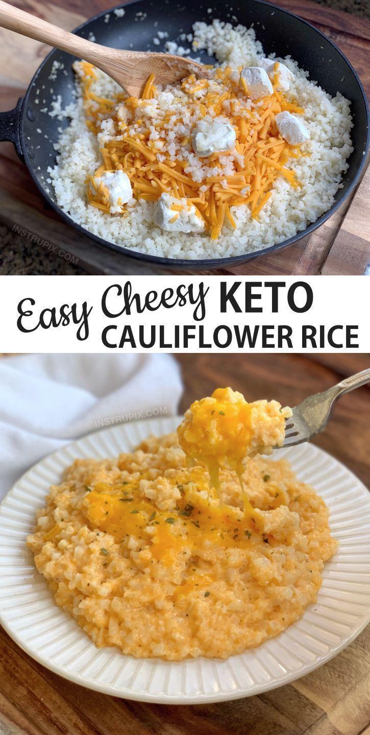 Cauliflower Keto Recipes Easy  Easy Cheesy Cauliflower Rice Keto & Low Carb