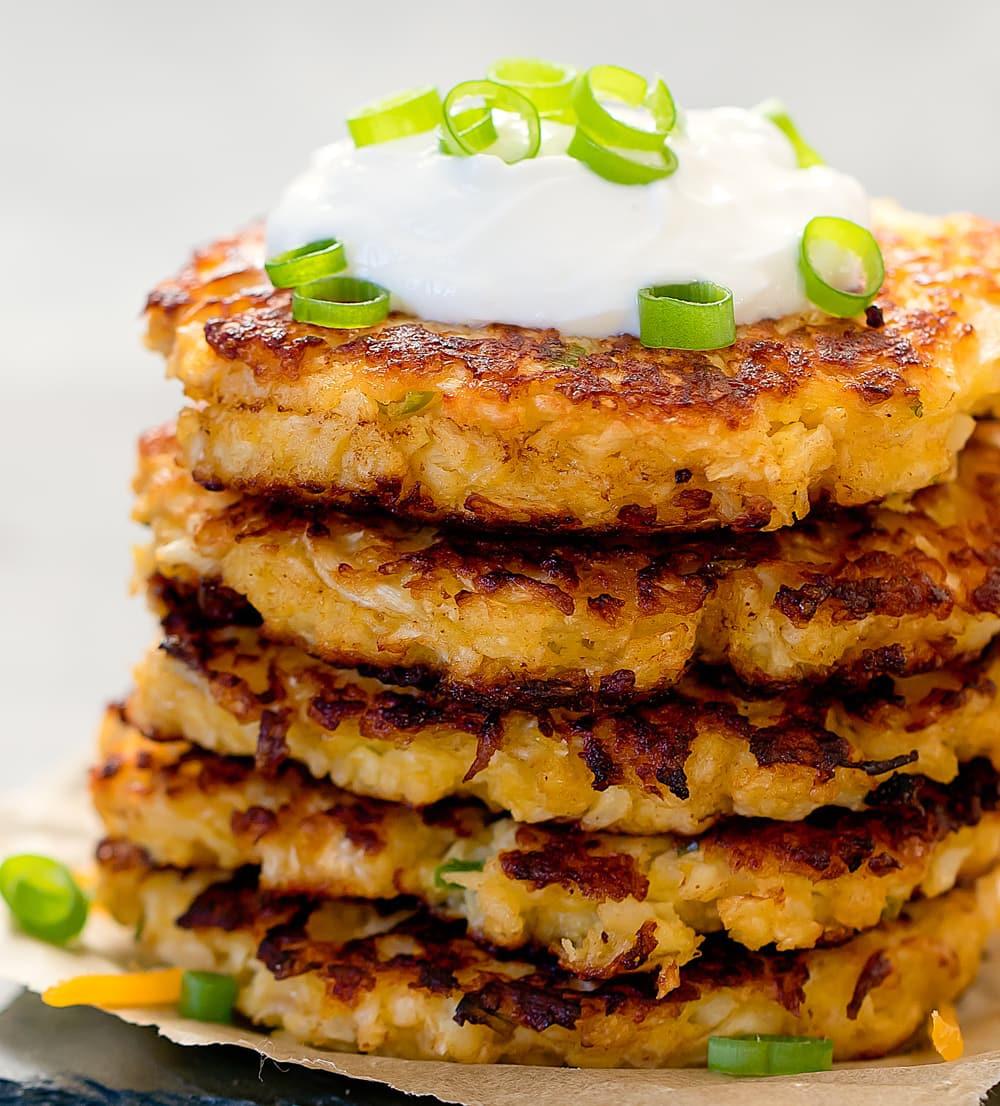 Cauliflower Keto Recipes Videos  Cheesy Cauliflower Fritters Keto Low Carb Kirbie s