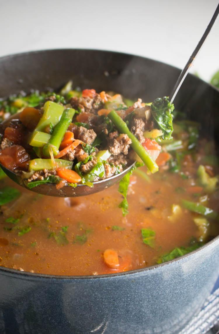 Hamburger Keto Recipes Easy  Low Carb Hamburger Soup Recipe Whole30 Keto Paleo