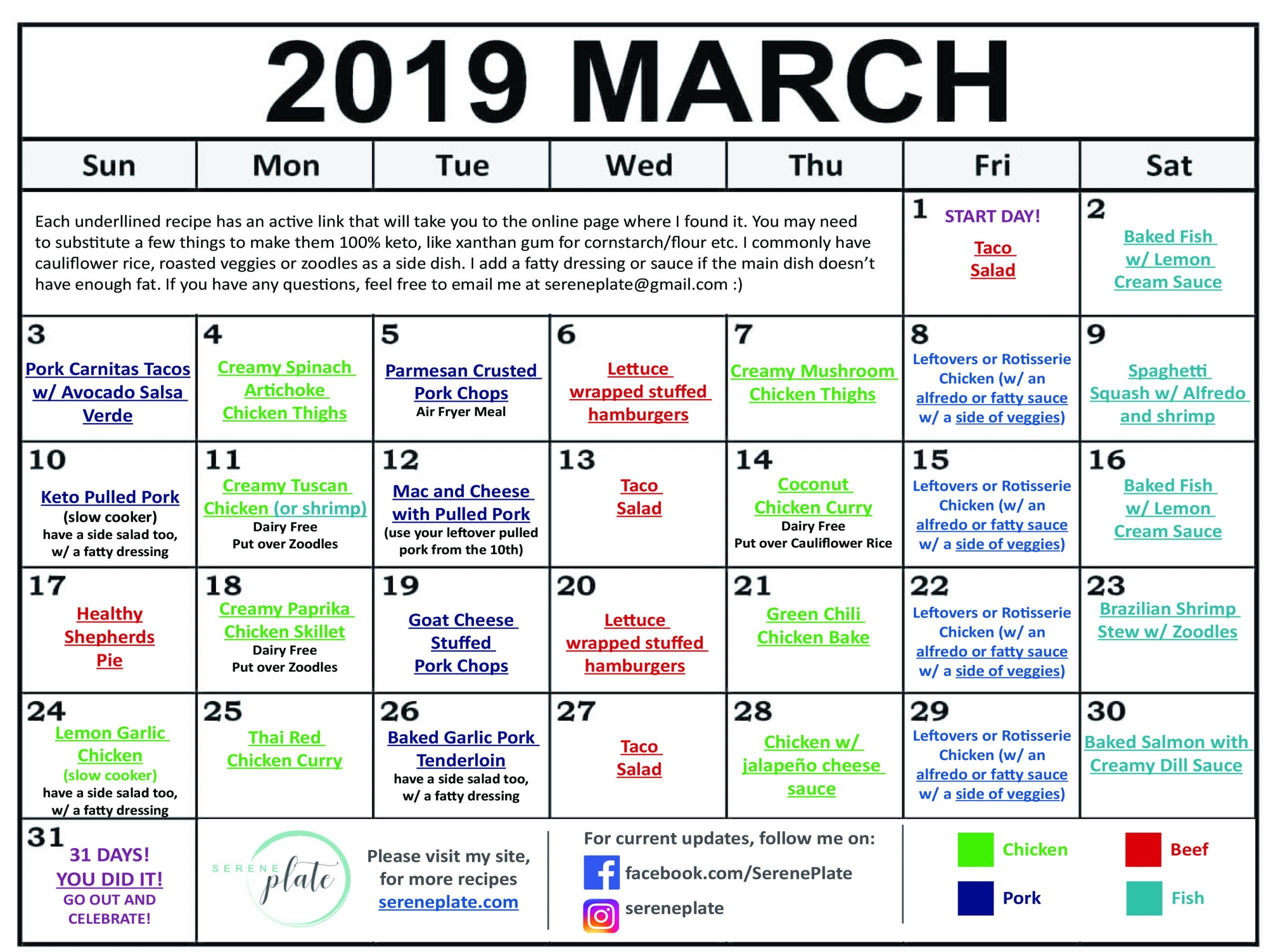 Keto Diet For Beginners Week 1 Meal Plan Printable  March Keto Meal Plan Heatlhy Low Carb Diet