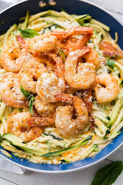 Keto Dinner Recipes Shrimp  Simple Garlic Shrimp Alfredo With Zoodles