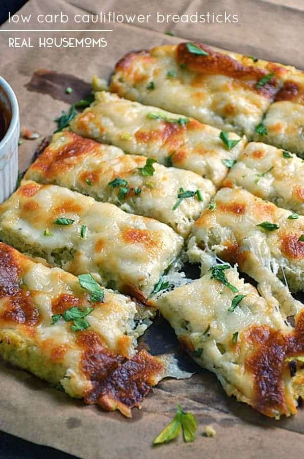 Low Carb Bread Sticks Garlic Breadsticks  Low Carb Cauliflower Breadsticks Low Carb Recipes VIDEO
