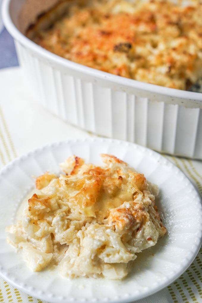 Scalloped Cauliflower Keto  Low Carb Cheesy Cauliflower Casserole an easy cheesy
