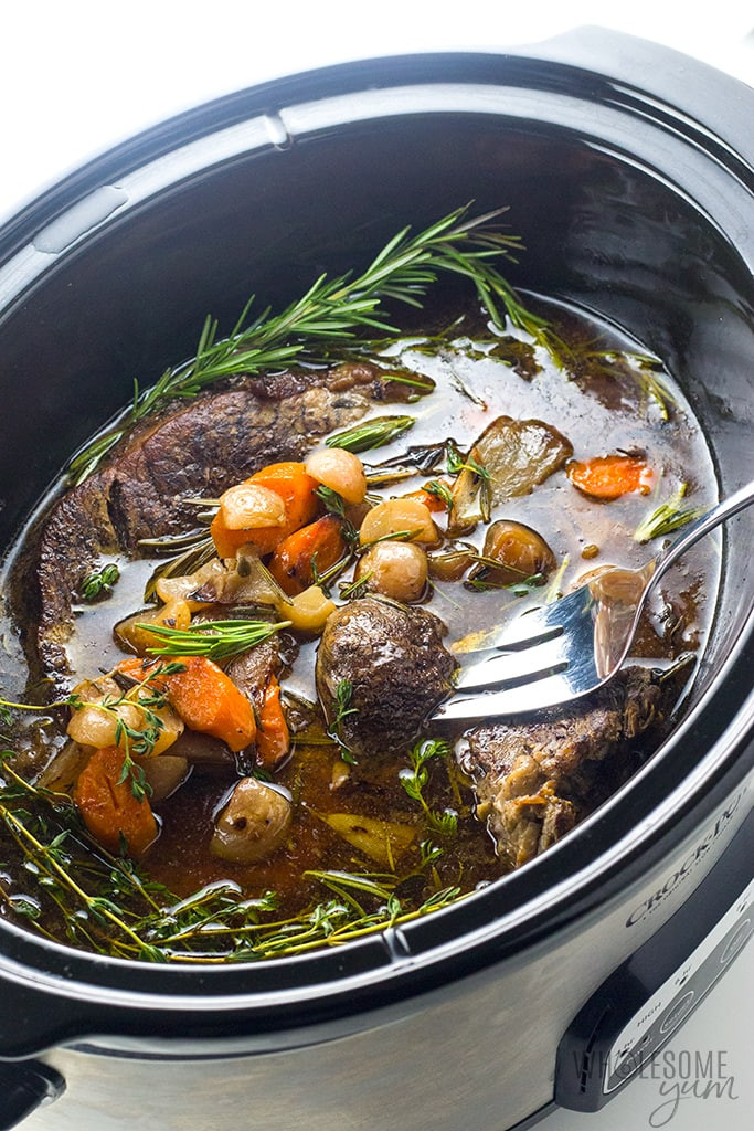 Slow Cooker Keto Recipes Low Carb  Keto Low Carb Pot Roast Slow Cooker Recipe VIDEO