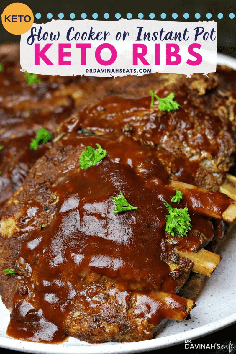 Slow Cooker Keto Ribs  Keto BBQ Ribs Recipe Slow Cooker & Ninja Foodi