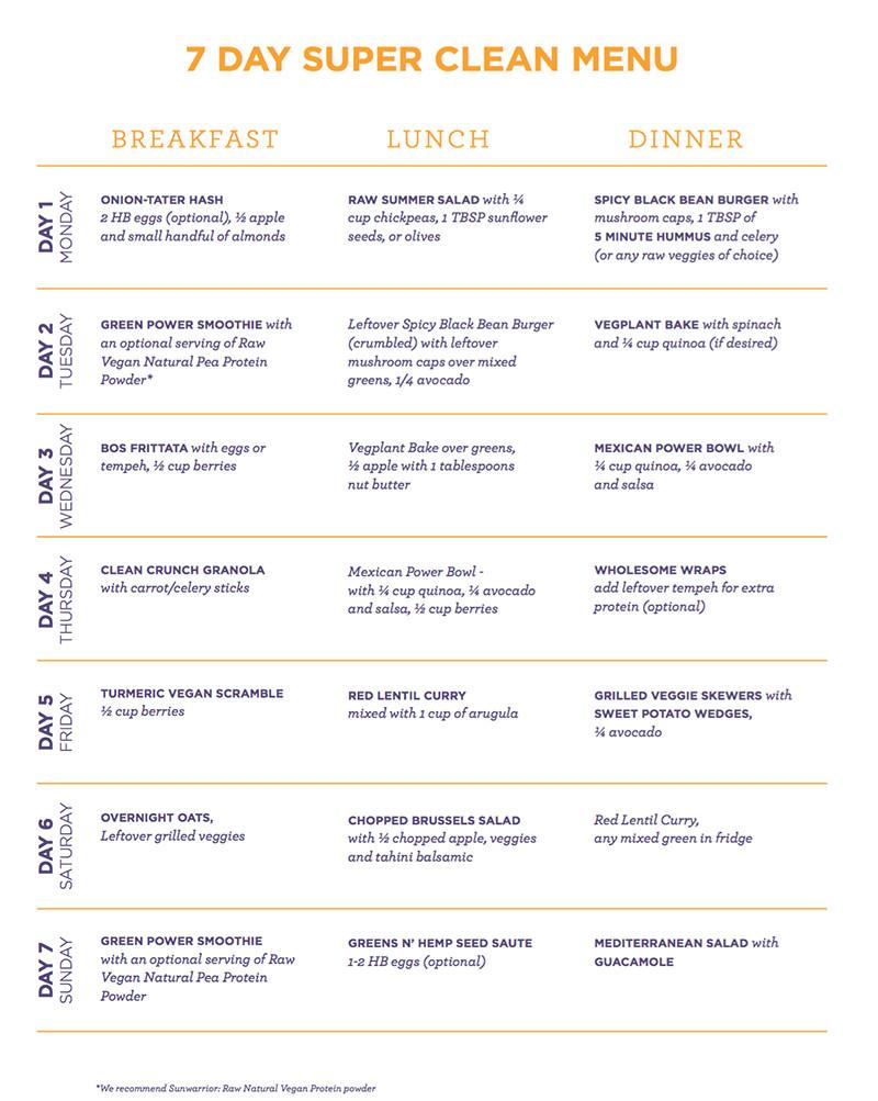 30 Day Vegan Plan  The 30 Clean 7 Day Vegan Meal Plan