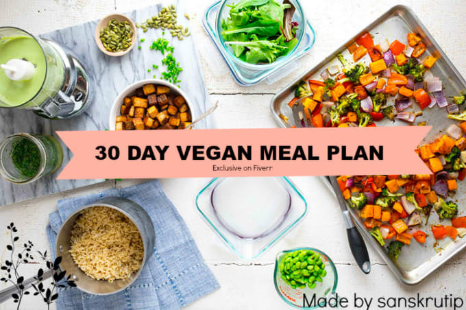 30 Day Vegan Plan  Create a 30 day vegan meal plan by Sanskrutip