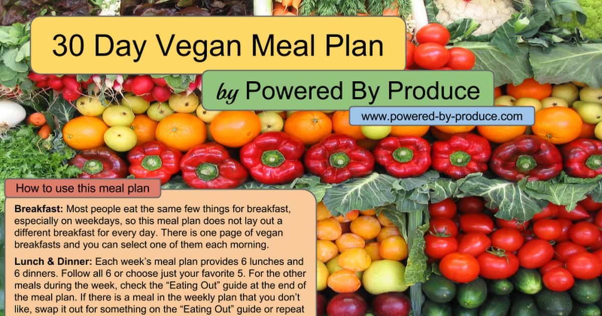 30 Day Vegan Plan  1 Month Vegan Meal Plan Google Slides