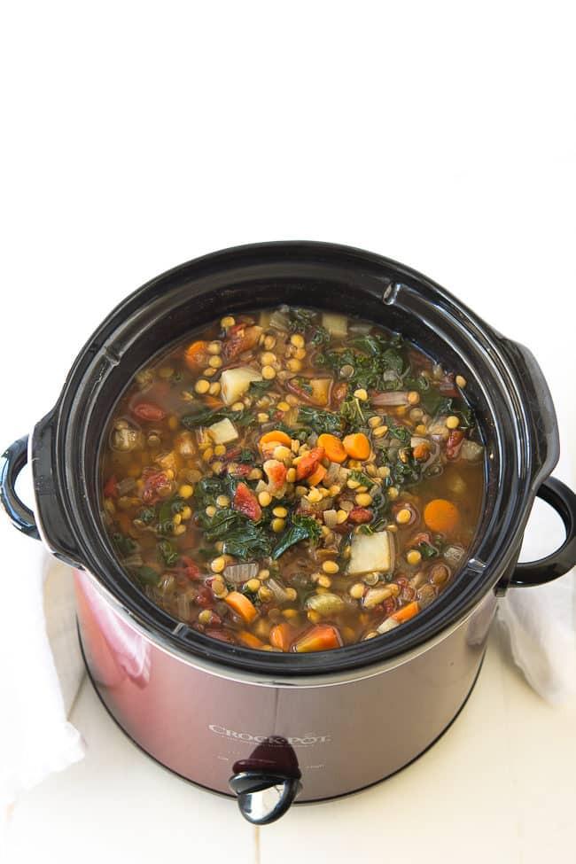 Crockpot Plant Based Recipes  Crock Pot Ve able Lentil Soup