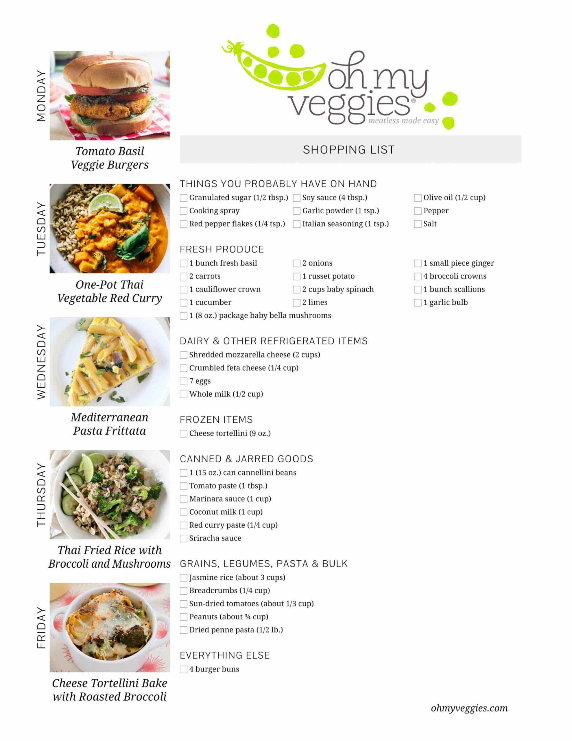 Easy Vegan Plan  Ve arian Meal Plan