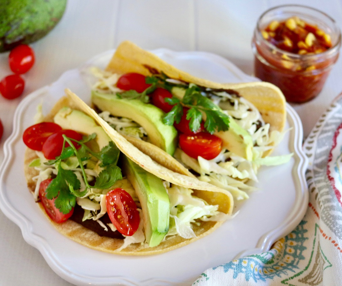Easy Vegan Tacos  Easy Vegan Tacos with Refried Beans and Corn Salsa Gluten