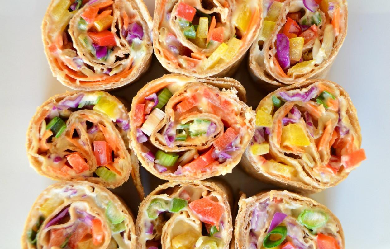 Easy Whole Food Plant Based Recipes  Rainbow Hummus Rolls