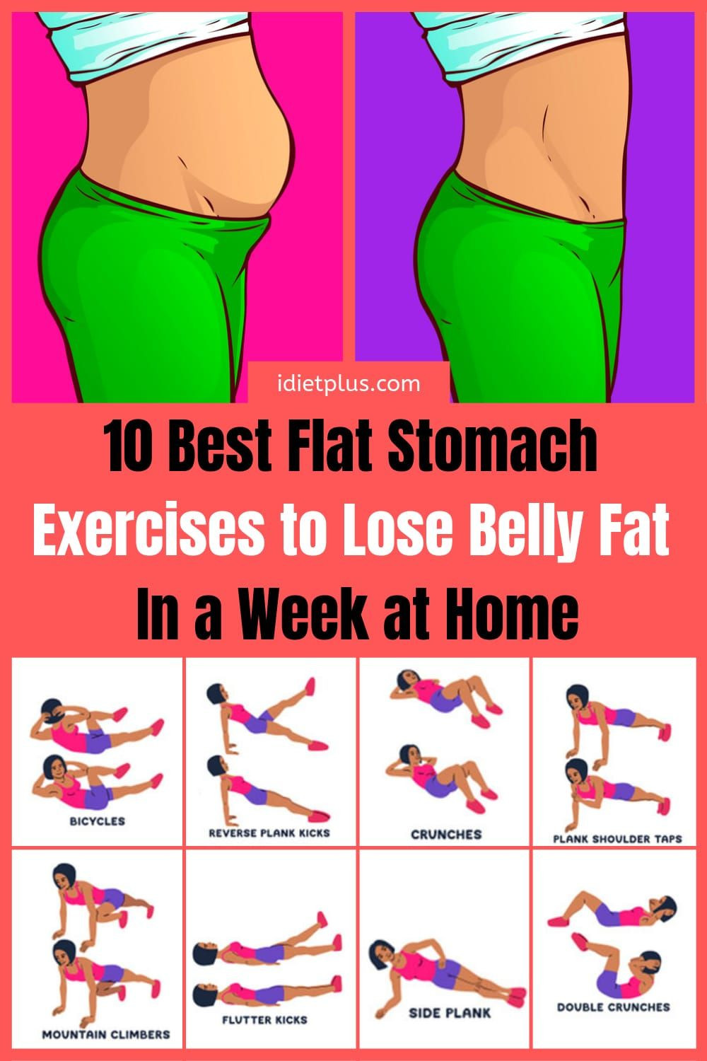 Fat Burning Workout At Home Flat Stomach  Pin on Stomach Exercises