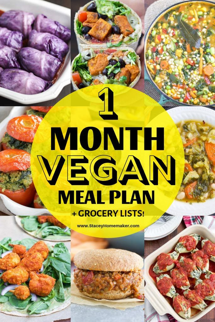 Going Vegan Plan  Vegan Grocery List for Beginners 1 Month Meal Plan