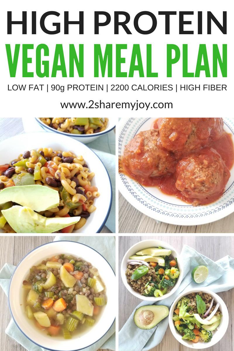 High Protein Vegan Plan  High Protein Vegan Meal Plan 2 200 calories 2SHAREMYJOY