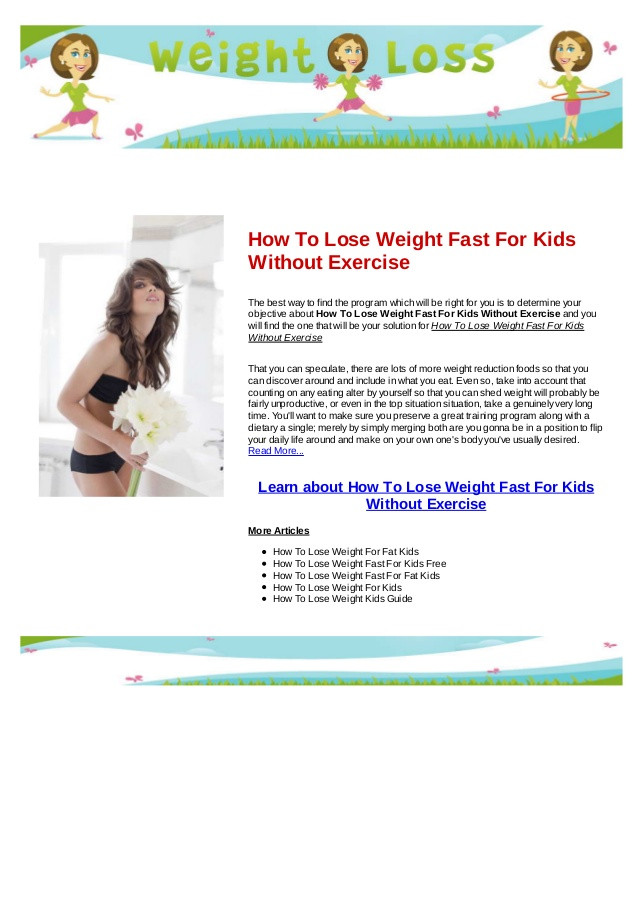 How To Lose Belly Fat Fast For Kids  How to lose weight fast for kids without exercise