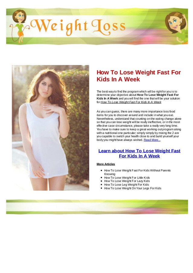 How To Lose Belly Fat Fast For Kids  How to lose weight fast for kids in a week