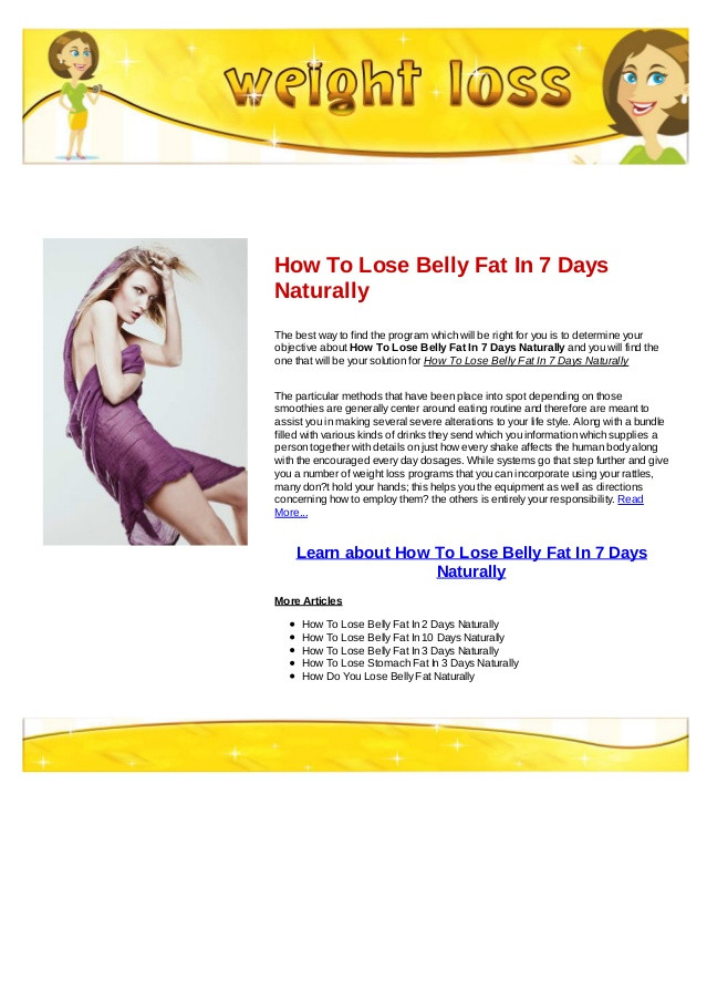 How To Lose Belly Fat In 7 Days  How to lose belly fat in 7 days naturally