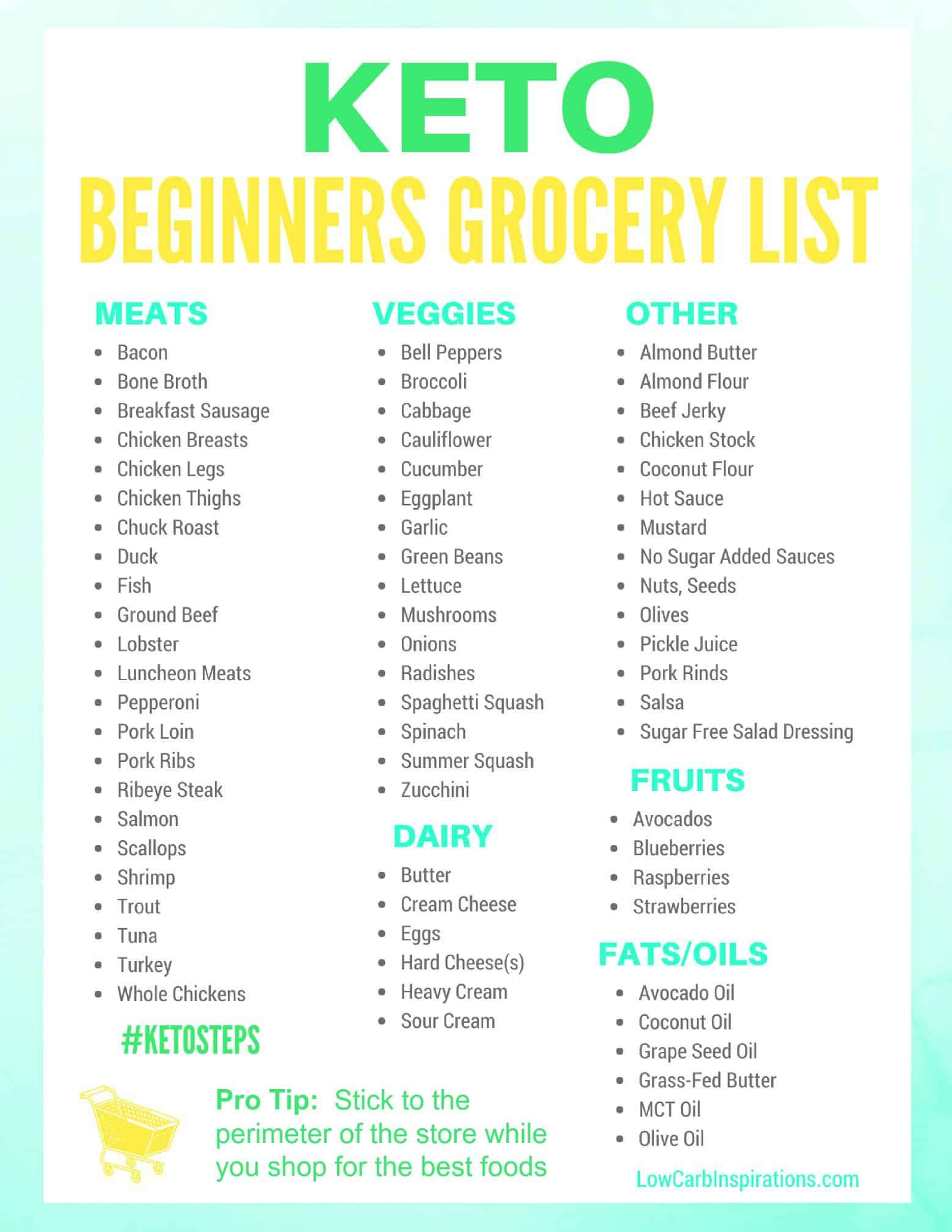 Ketosis Diet For Beginners  Keto Grocery List for Beginners iSaveA2Z