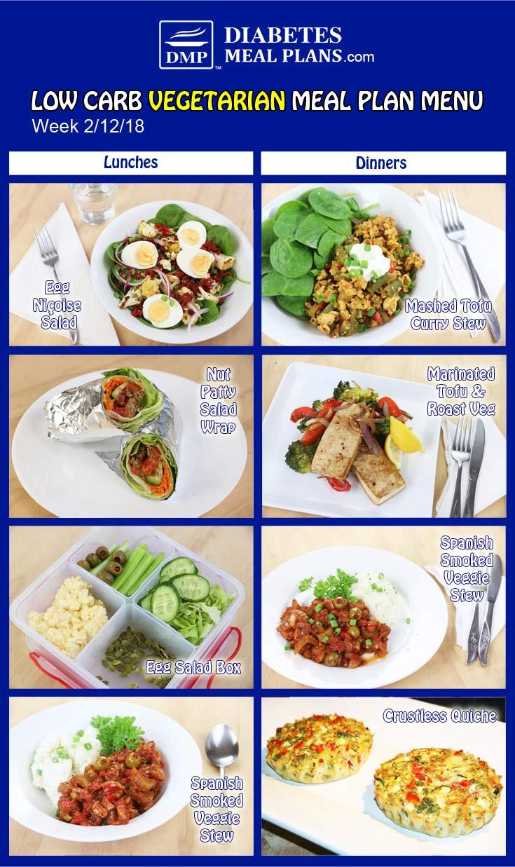 Low Carb Diet Vegetarian  Diabetic Meal Plan Week of 2 12 18