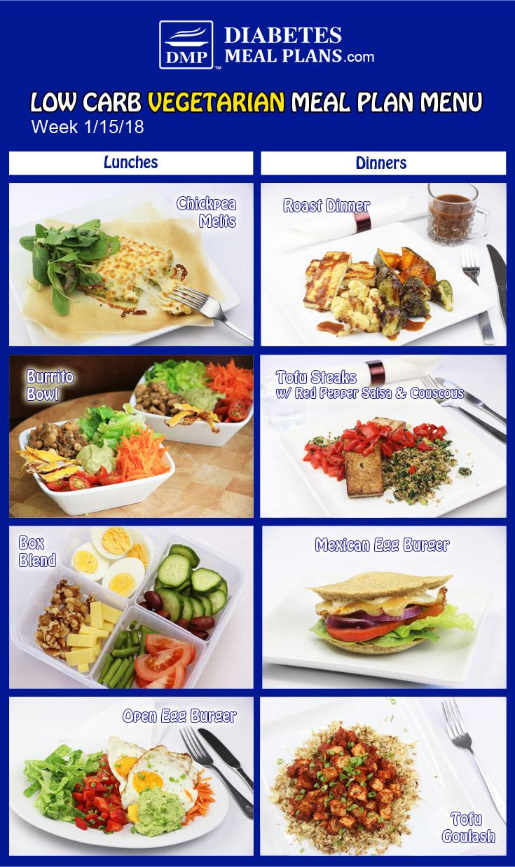 Low Carb Diet Vegetarian  Diabetic Meal Plan Week of 1 15 18