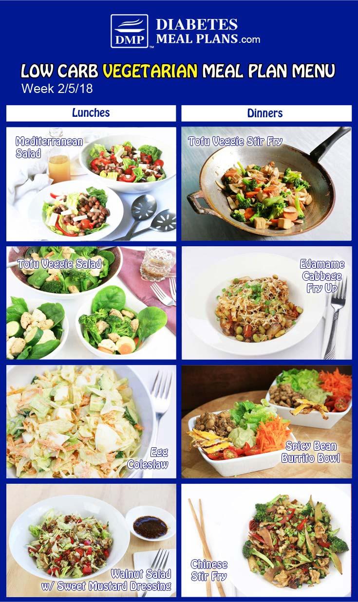 Low Carb Vegan Diet Plan  Diabetic Meal Plan Week of 2 5 18