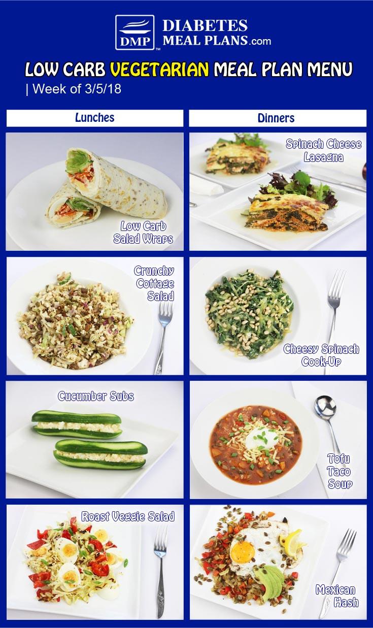Low Carb Vegan Diet Plan  Diabetic Meal Plan Week of 3 5 18
