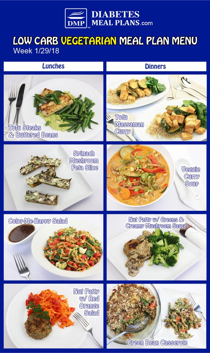 Low Carb Vegan Diet Plan  Low Carb Diabetic Meal Plan Week of 1 29 18