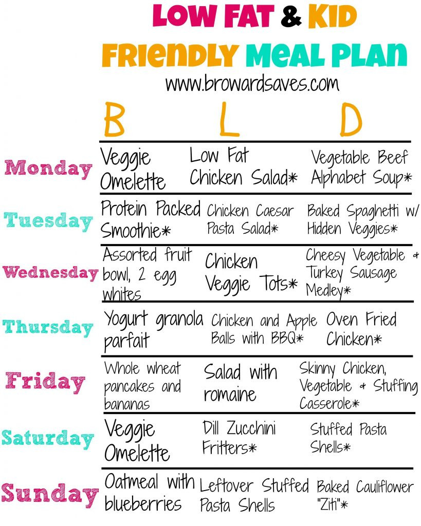 Low Fat Diet For Kids  Low Fat And Kid Friendly Weekly Meal Plan Living Sweet