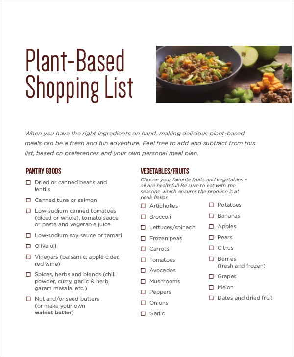 Plant Based Diet Shopping List  Shopping List Sample 8 Examples in Word PDF