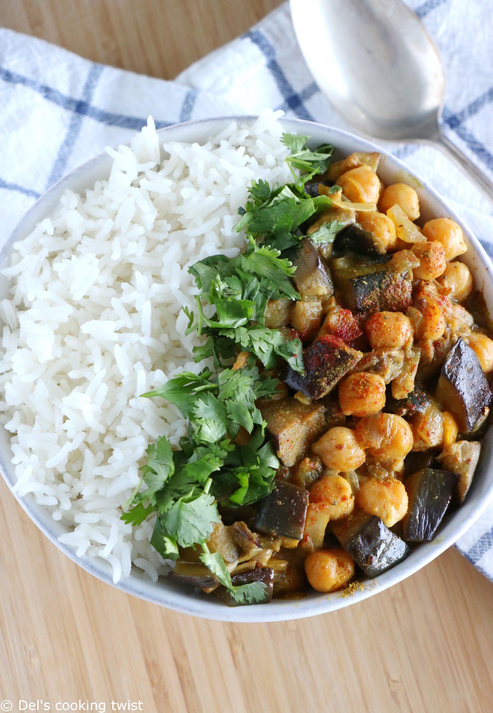 Quick Plant Based Recipes  Easy Eggplant Chickpea Curry Vegan Gluten Free – Del s