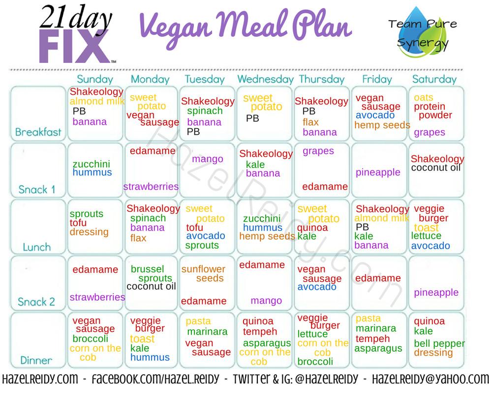 Vegan Diet Plan 21 Days  21 day fix meal plan vegan style fit