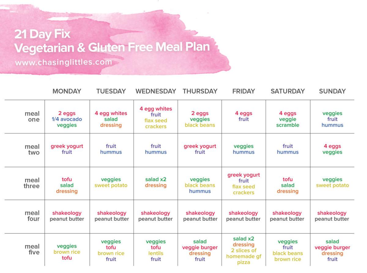 Vegan Diet Plan 21 Days  21 Day Fix Free Ve arian & Gluten Free Meal Plan