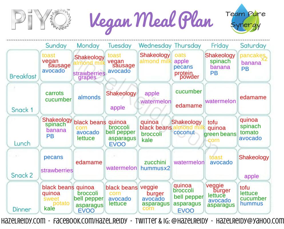 Vegan Diet Plan 21 Days  PiYo vegan meal plan Considering doing the vegan
