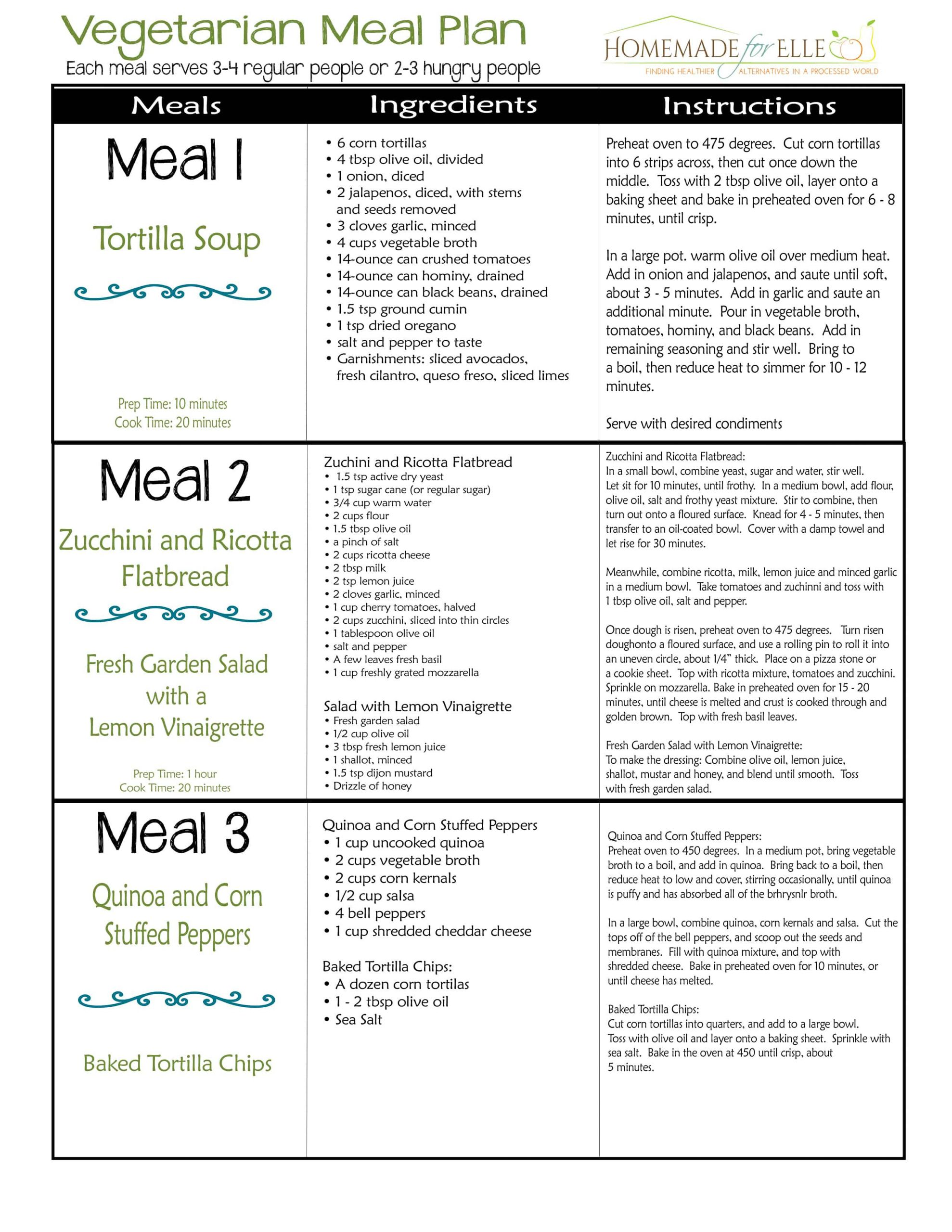 Vegan Diet Plan  ve arian meal plan page 1 ⋆ Homemade for Elle