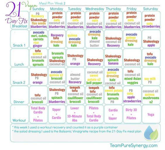 Vegan Diet Plan Weightloss 21 Days  Vegan 21 Day Fix Meal Plan 1 calories GF
