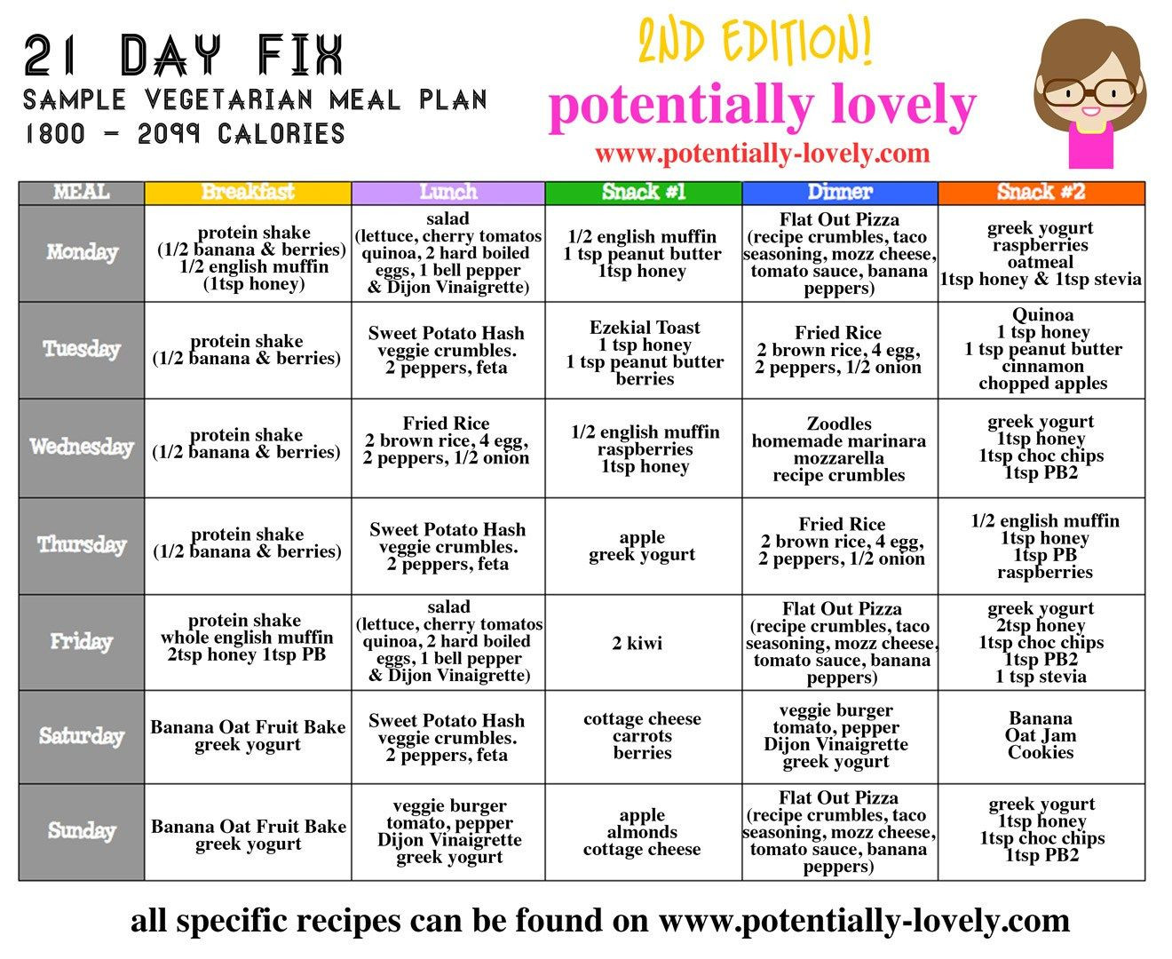 Vegan Diet Plan Weightloss 21 Days  21 Day Fix Weekly Ve arian Meal Plan 2