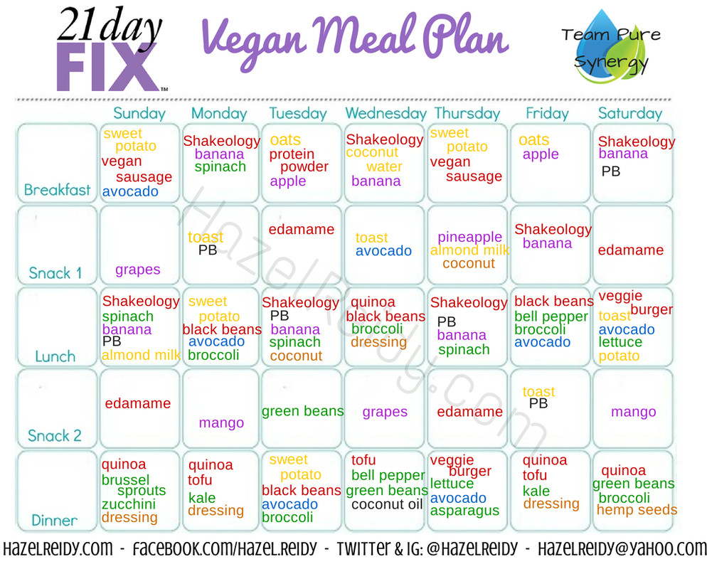 Vegan Plan Menu  new 21 day fix vegan menu