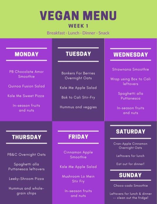 Vegan Plan Menu  2 Week Vegan Meal Plan with Shopping List Spirited Veg