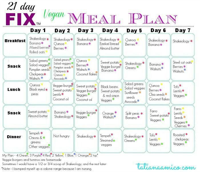 Vegan Plan Menu  21 Day Fix Week 1 Journey and Meal Plan