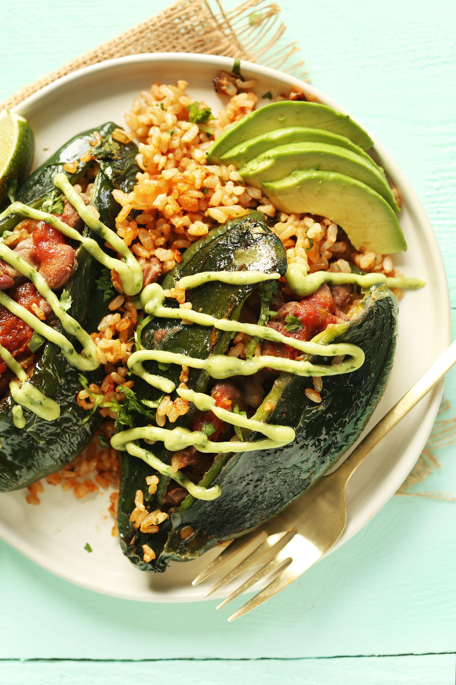 Vegan Plant Based Recipes  Vegan Stuffed Poblano Peppers
