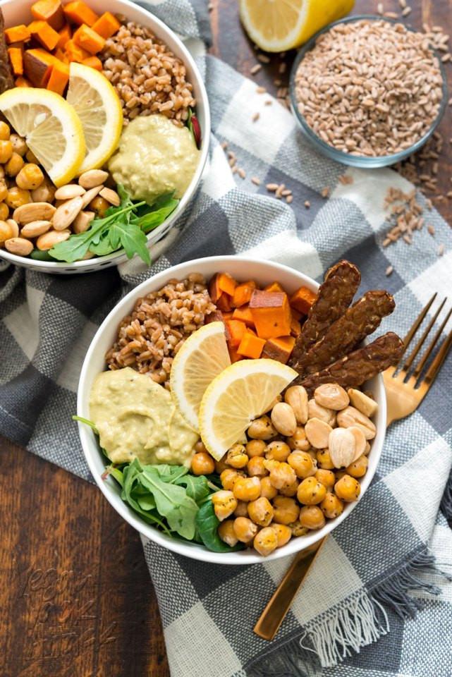 Vegan Protein Bowl Recipes  Vegan Fall Farro Protein Bowl Recipe Vegan Yack Attack